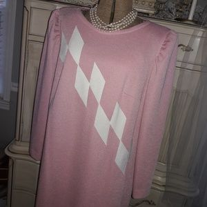VTG DUSTY ROSE AND WHITE DRESS! CLASSIC!